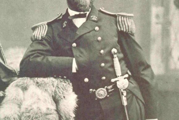 Posed captain in sepia photo
