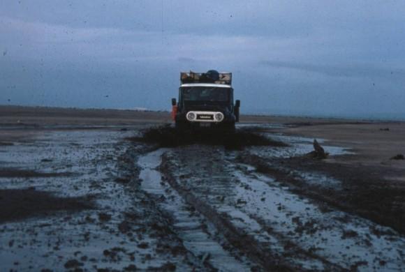 FJ off-road vehicle on muddy road
