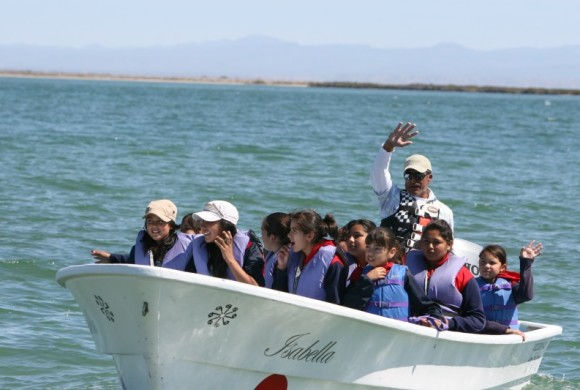 Students and teachers preparing for whale watch in boats.
