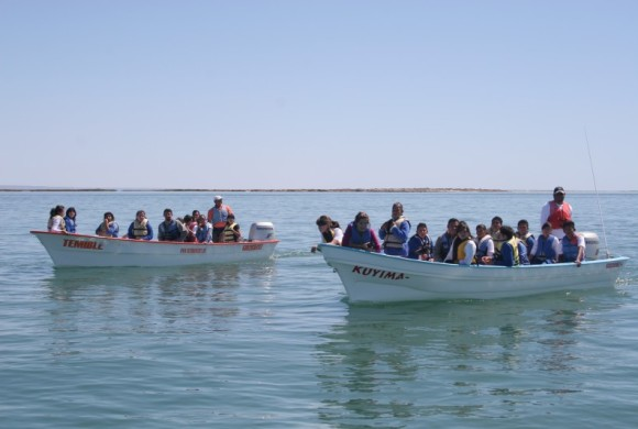 Students in boats